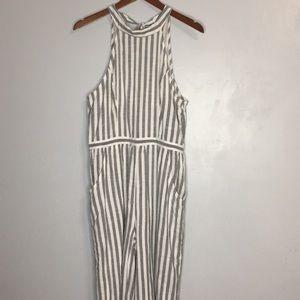 American Eagle NWOT halter striped jumpsuit sz L